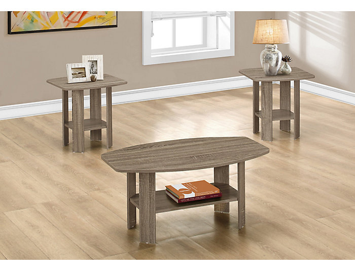 Taupe 3 Piece Coffee Table Set, Taupe, , large