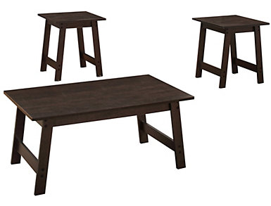 Neil 3 Piece Coffee Table Set, Brown, , large