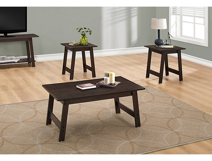 Neil 3 Piece Coffee Table, Brown, , large