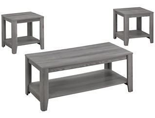 Noah 3 Piece Coffee Table Set, Grey, , large
