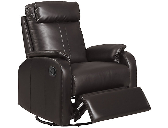 Ed Leather Recliner, Brown, , large