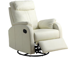 Ed Leather Recliner, Ivory, , large