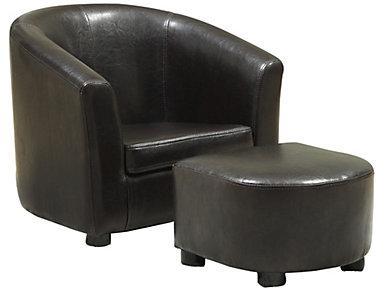 Logan Kid's Chair   Ottoman, Brown, , large