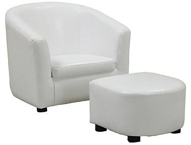 Logan Kid's Chair   Ottoman, White, , large