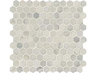 Arabescato Carrara Hexagon Honed in Mesh 11.10 in. x 11.50 in. Marble Floor and Wall Tile $13.98/ sq. ft (8.9 sq. ft / case), , large