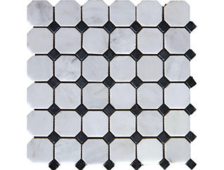 Arabescato Cararra Octagon with Black and White Honed in Mesh 12 in. x 12 in. Marble Floor and Wall Tile $13.98/ sq. ft (10 sq. ft / case), , large