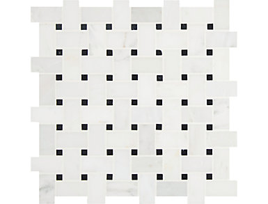 Arabescato Carrara with Black Marble Basket Weave Pattern Honed 12 in. x 12 in. Marble Floor and Wall Tile $13.98/ sq. ft (10 sq. ft / case), , large