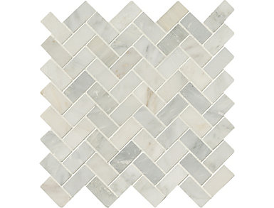 Arabescato Carrara Herringbone Pattern Honed in Mesh 11.63 in. x 11.63 in. Marble Floor and Wall Tile $13.98/ sq. ft (9.4 sq. ft / case), , large
