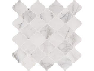 Calacatta Cressa Arabesque Honed Mosaic 12 in. x 12 in. Marble Floor and Wall Tile $27.98/ sq. ft (10 sq. ft / case), , large