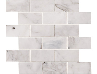 Calacatta Cressa White Subway Mosaic Tile 11.81 in. x 11.81 in. Marble Floor and Wall Tile $13.78/ sq. ft (9.8 sq. ft / case), , large