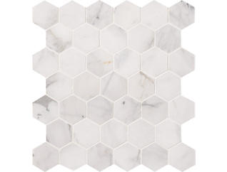 Calacatta Cressa Hexagon Honed Mosaic 11.75 in. x 12 in. Marble Floor and Wall Tile $19.28/ sq. ft (9.8 sq. ft / case), , large