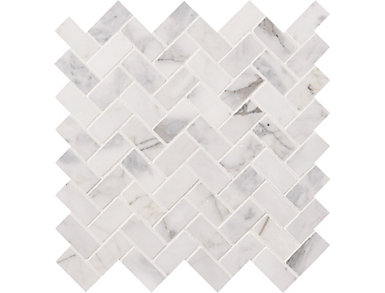Calacatta Cressa Herringbone Honed 11.63 in. x 11.63 in. Marble Floor and Wall Tile $13.78/ sq. ft (9.4 sq. ft / case), , large