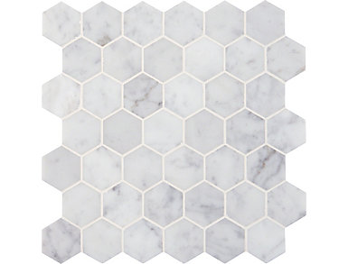 Carrara White Hexagon Polished Mosaic 12 in. x 12 in. Marble Floor and Wall Tile $18.48/ sq. ft (10 sq. ft / case), , large