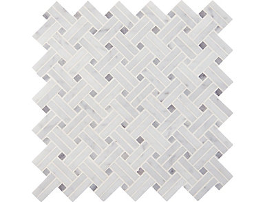 Carrara White Basketweave Mosaic 12.2 in. x 12.2 in. Marble Floor and Wall Tile $20.28/ sq. ft (10.3 sq. ft / case), , large