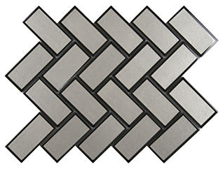 Champagne Bevel Herringbone 11.08 in. x 13.86 in. Glass Wall Tile $21.98/sq. ft (10.6 sq. ft / case), , large
