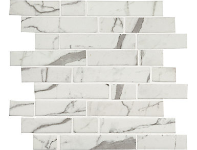 Statuario Celano Interlocking Mosaic 11.81 in. x 11.81 in. x 6 mm Glass Wall Tile $14.48/ sq. ft (14.55 sq. ft / case), , large