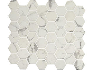 Statuario Celano Hexagon 11.02 in. x 12.75 in. x 6 mm Glass Wall Tile $14.48/ sq. ft (14.7 sq. ft / case), , large