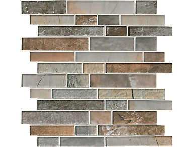 Taos Interlocking Pattern Mosaic 11.73 in. x 12.83 in. x 8 mm Glass Wall Tile $17.48/ sq. ft (10.4 sq. ft / case), , large