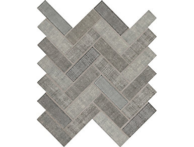 Textalia Herringbone Mosaic 11.02 in. x 12.8 in. x 6 mm Glass Wall Tile $14.48/ sq. ft (14.7 sq. ft / case), , large