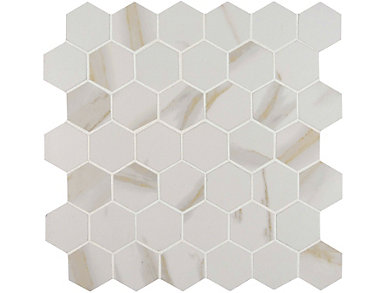 Calacatta Hexagon Mesh-Mounted Mosaic 12 in. x 12 in. Porcelain Floor and Wall Tile $9.98/ sq. ft (8 sq. ft / case), , large