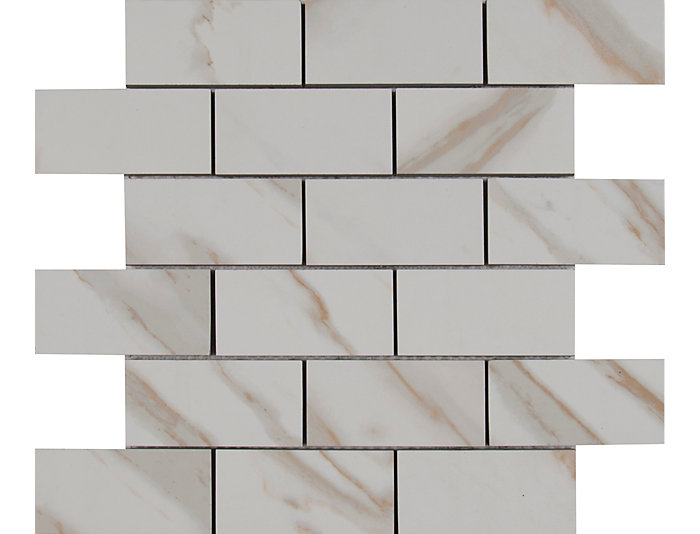 Calacatta Ivory Mosaic Tile 12 In X Porcelain Floor And Wall