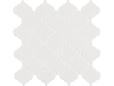 White Glossy Arabesque Mosaic 11.23 in. x 9.65 in. Porcelain Floor and Wall Tile $7.38/ sq. ft (15.46 sq. ft / case), , large