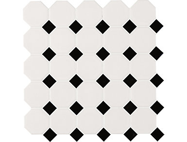 White And Black Octagon Matte Mosaic 11.61 in. x 11.61 in. Porcelain Floor and Wall Tile $6.98/ sq. ft (18.73 sq. ft / case), , large