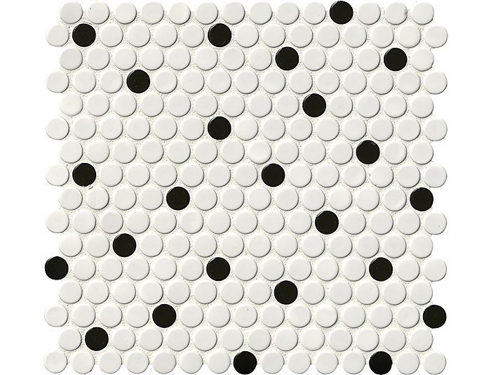 White And Black Penny Round Glossy Mosaic 11.57 in. x 12.4 in. Porcelain Floor and Wall Tile $6.98/ sq. ft (19.93 sq. ft / case)