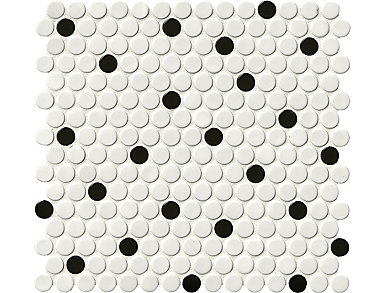 White And Black Penny Round Glossy Mosaic 11.57 in. x 12.4 in. Porcelain Floor and Wall Tile $6.98/ sq. ft (19.93 sq. ft / case), , large