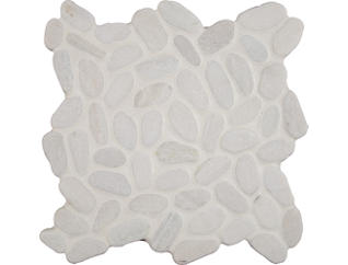 White Pebbles Tumbled Pattern Mosaic 11.42 in. x 11.42 in. Marble Floor and Wall Tile $10.98/ sq. ft (9.1 sq. ft / case), , large