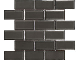 Charcoal Beveled Mosaic 11.21 in. x 11.47 in. Ceramic Wall Tile $5.98/ sq. ft (13.89 sq. ft / case), , large
