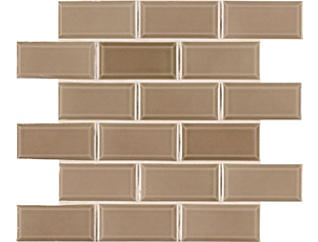 Taupe Beveled Mosaic 11.21 in. x 11.47 in. Ceramic Wall Tile $5.98/ sq. ft (13.41 sq. ft / case), , large