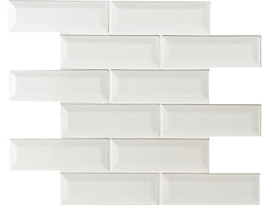 Whisper White Beveled Mosaic 12 in. x 12 in. Ceramic Wall Tile $14.48/ sq. ft (10 sq. ft / case), , large