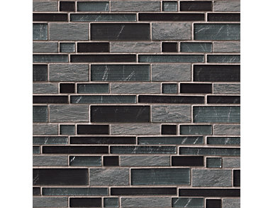 Perspective Blend Interlocking Pattern Mosaic 12 in. x 12 in. Glass/Stone Wall Tile $14.68/ sq. ft (10 sq. ft / case), , large