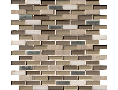 Silver Tip Mosaic 12 in. x 12 in. Glass/Stone/Metal Wall Tile $12.98/ sq. ft (10 sq. ft / case), , large