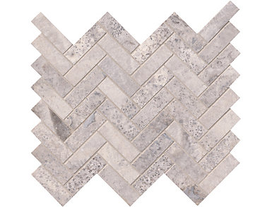 Silver Travertine Herringbone Pattern Honed 12 in. x 12 in. Wall Tile $13.78/ sq. ft (10 sq. ft / case), , large