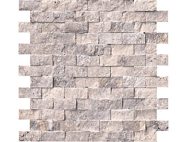 Silver Travertine Splitface Mosaic 12 in. x 12 in. Wall Tile $16.68/ sq. ft (10 sq. ft / case), , large