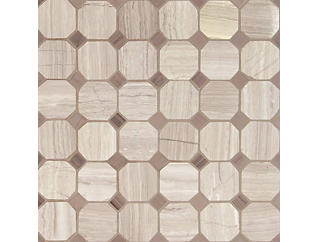 White Oak Arched Octagon Mosaic 12 in. x 12 in. Marble Wall Tile $17.48/ sq. ft (10 sq. ft / case), , large
