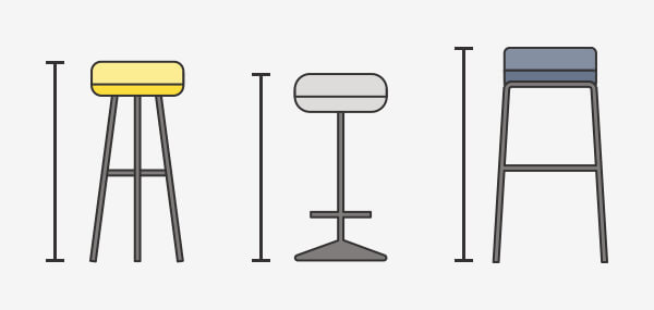 3 bar stools with rulers measuring top to bottom