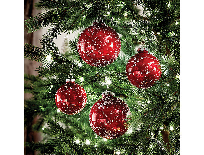 S/4 Snowy Ball Glass Ornament, , large