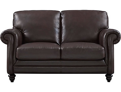 Natuzzi Thickly Padded Leather Loveseat Brown Large