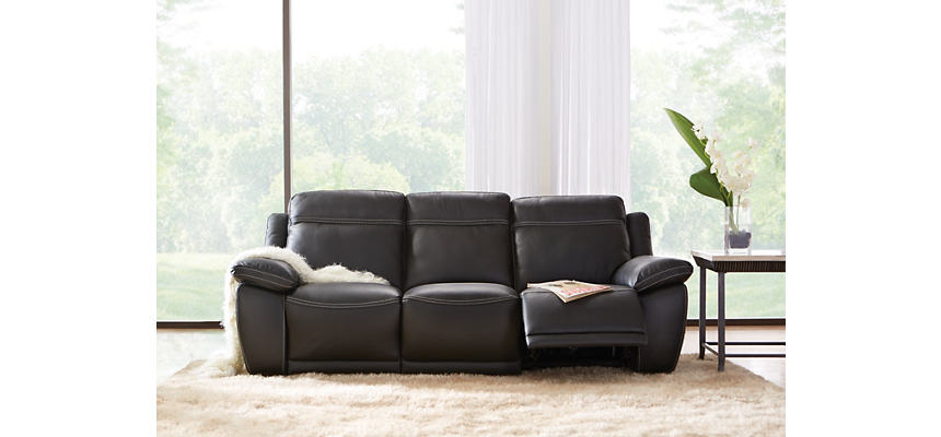 Natuzzi B875 Reclining Leather Sofa, Black