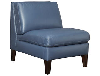 Natuzzi C009 Genuine Leather Armless Chair, Blue, , large