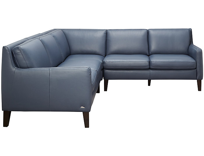 C009 Blue 3 Piece Leather Sectional
