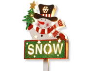 shop Pre-Lit Snowman & SNOW Sign