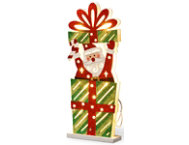 shop Pre-Lit Wooden Santa Gift Box
