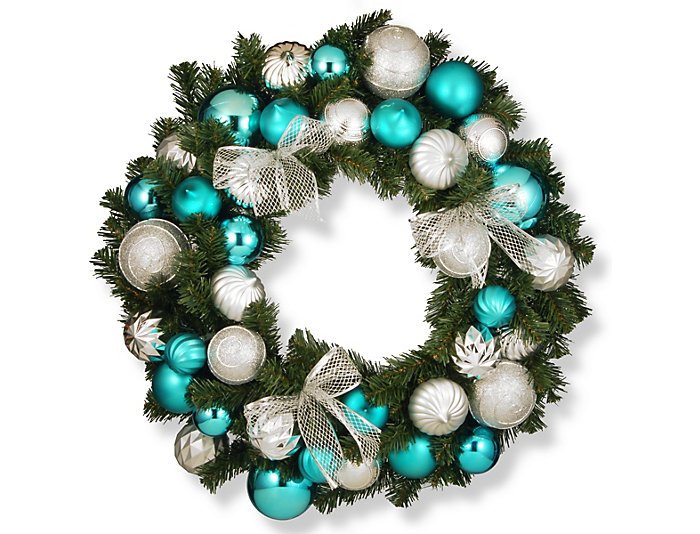"30"" Silver & Blue Wreath, , large"