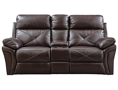 Nova Chocolate Manual Reclining Console Loveseat, , large