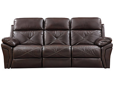 Nova Chocolate Manual Reclining Sofa, , large