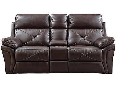 Nova Chocolate Power Reclining Console Loveseat, , large